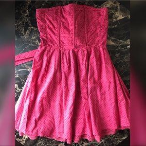 Forever 21 Strapless Pink & Polka Dot Dress